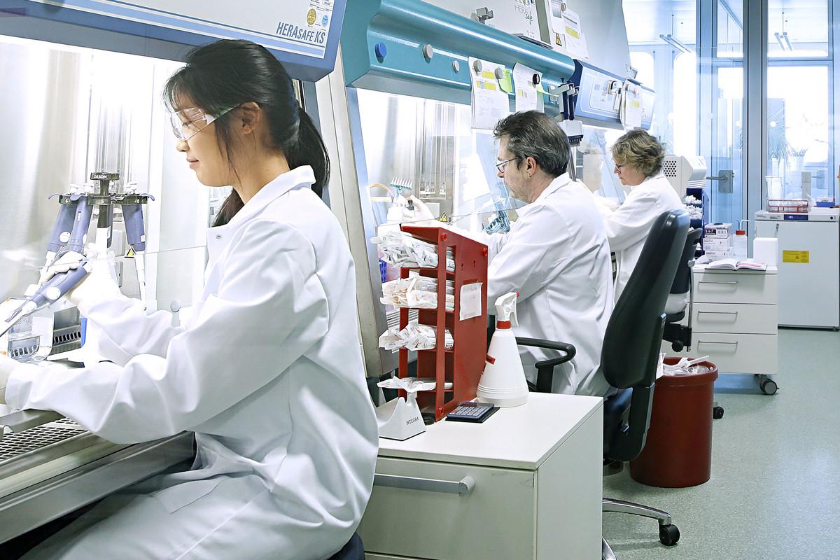 Investigadores de Bayer en uno de los laboratorios de cultivo celular de la compañia en Berlin.