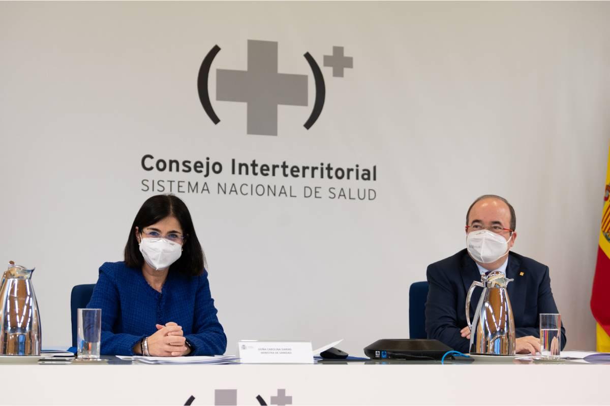 Carolina Darias, ministra de Sanidad, y Miguel Iceta, ministro de Política Territorial, en el Consejo Interterritorial del 28 de enero (Moncloa / Borja Puig de la Bellacasa)