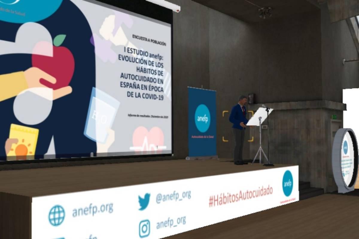 Presentacion virtual del 'I Estudio anefp: Evolución de los hábitos de autocuidado en España en época de la Covid', elaborado por la Asociación para el Autocuidado de la Salud (Anefp). Los datos los dio a conocer el avatar de Jaume Pey, su director general.