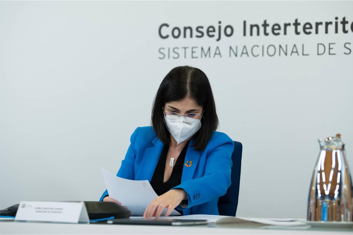 La ministra de Sanidad, Carolina Darias, durante el Consejo Interterritorial del 17 de febrero (Foto: Moncloa / Borja Puig de la Bellacasa)