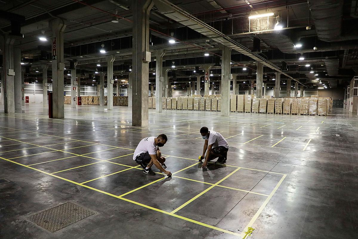 La Generalitat Valenciana cuenta con 22.000 metros cuadrados en Feria de Valencia para almacenar su material sanitario. / Genaralitat Valenciana.
