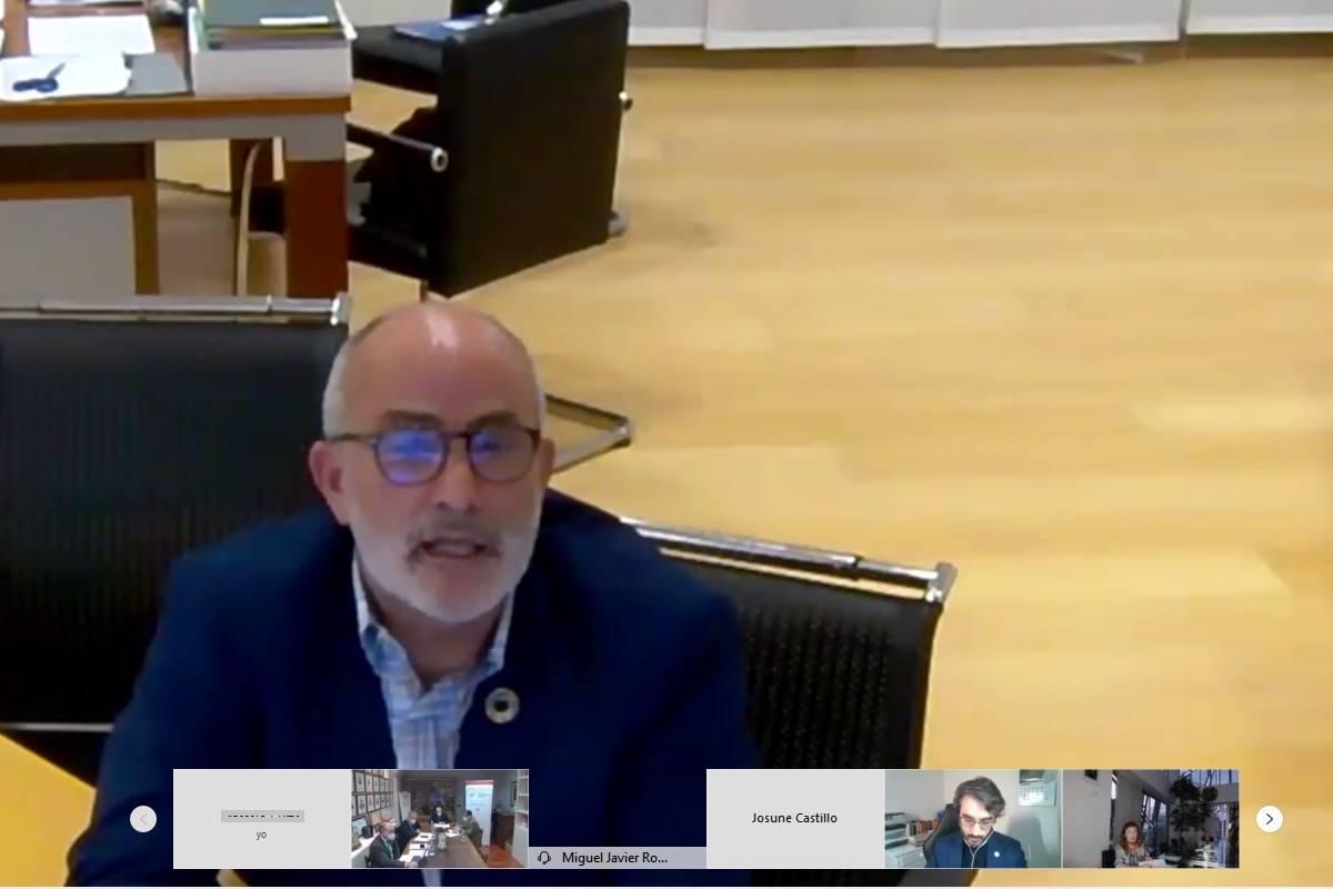 Miguel Javier Rodr�guez Gómez, consejero cántabro de Sanidad, en el encuentro virtual.