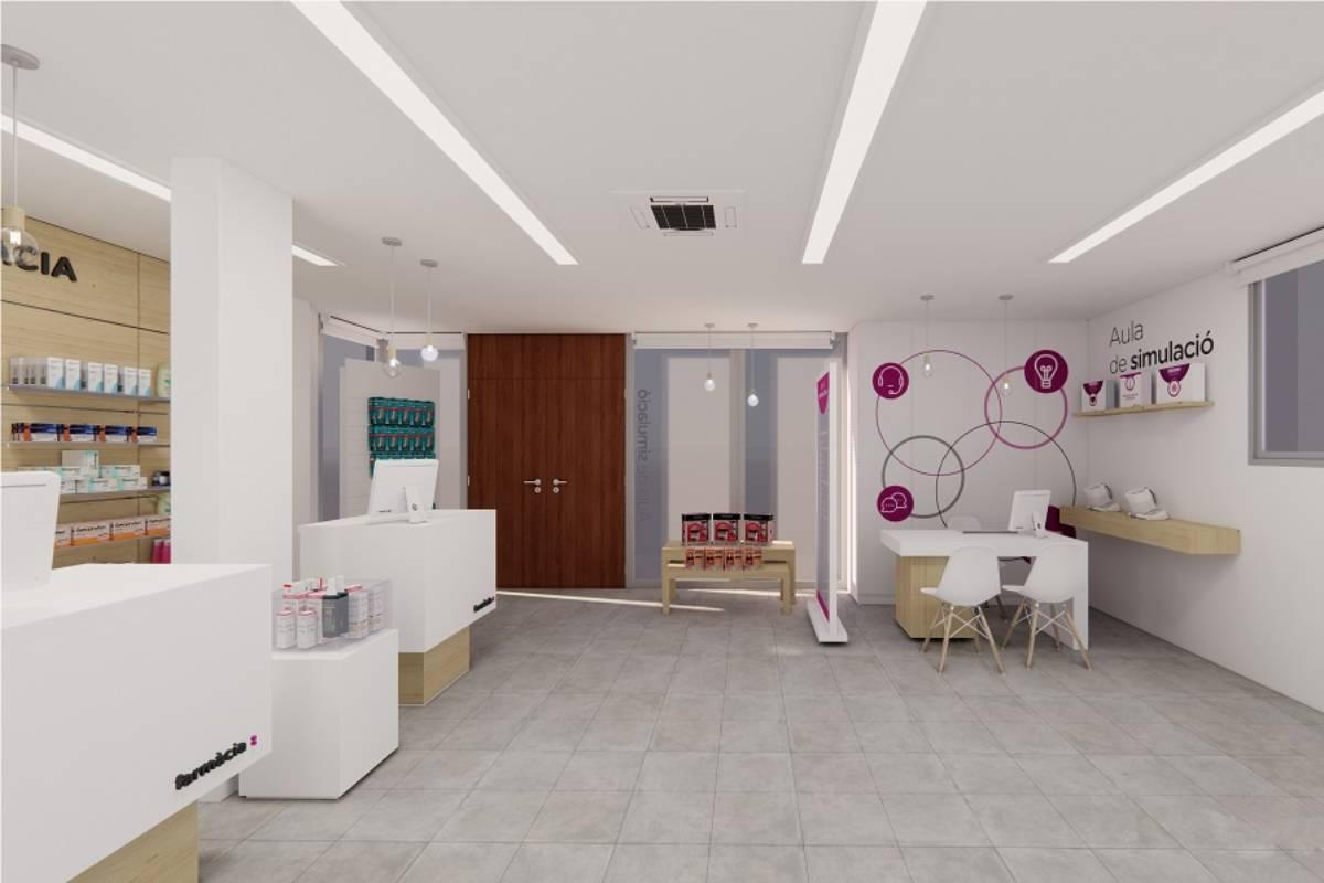 Simulación virtual del aula práctica de farmacia que creará la Facultad de Farmacia y Ciencias de la Alimentación de la Universidad de Barcelona (UB) y la cooperativa Fedefarma.