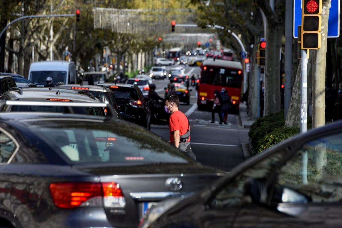 Atasco de tráfico en Barcelona