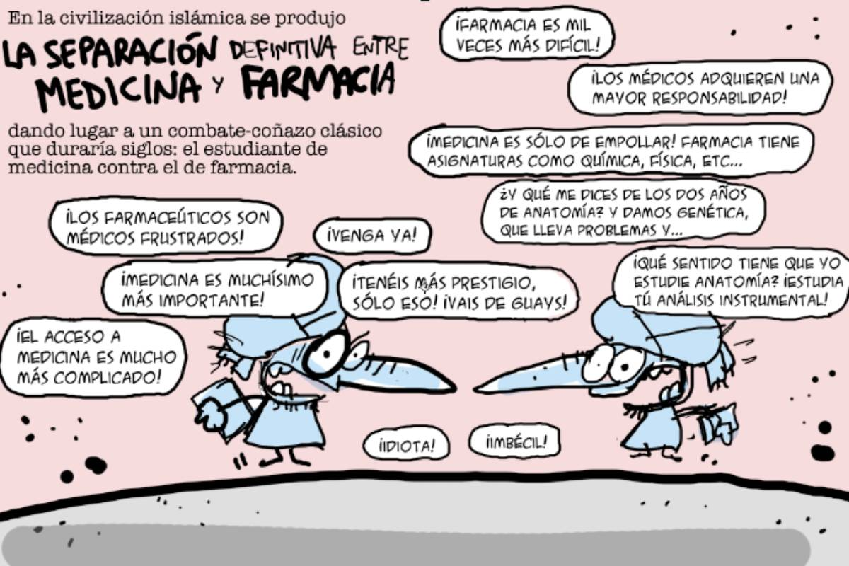 Viñeta de Íñigo Ansola en la que se plasma la separación de Farmacia y Medicina.