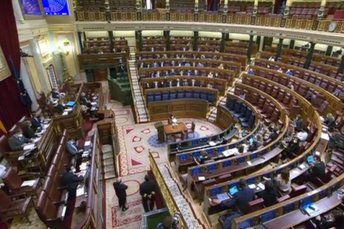 El pleno del Congreso de los Diputados durante la votación definitiva a la ley orgánica de regulaición de la eutanasia.