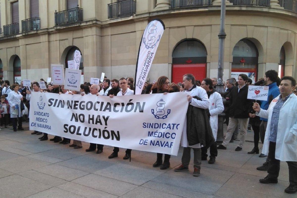 Aspecto de una protesta convocada por el Sindicato Médico de Navarra durante las huelgas de 2019 (FOTO: DM).
