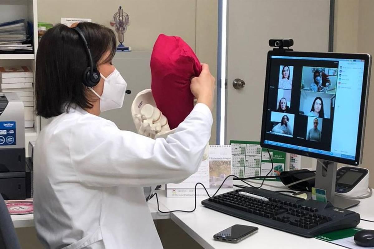 María Pilar Sánchez Collado, enfermera-matrona que trabaja en el centro de salud de Buñol (Valencia), del Departamento de Salud de Manises, ha ideado una sistema de videoconferencias para asesorar a las mujeres gestantes de las zonas rurales y resolver así dudas y brindar consejos.