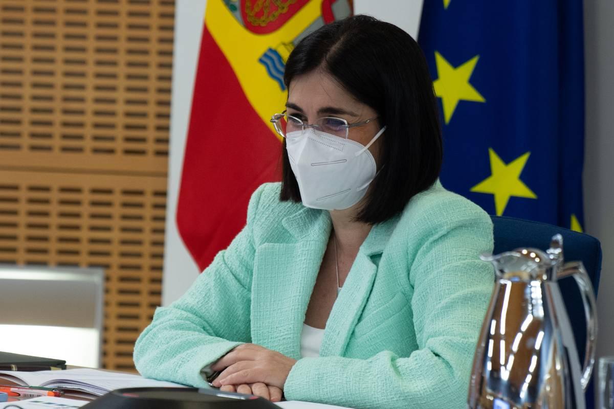 La ministra de Sanidad, Carolina Darias, durante el Consejo Interterritorial del 21 de abril (Foto: Moncloa / Borja Puig de la Bellacasa)