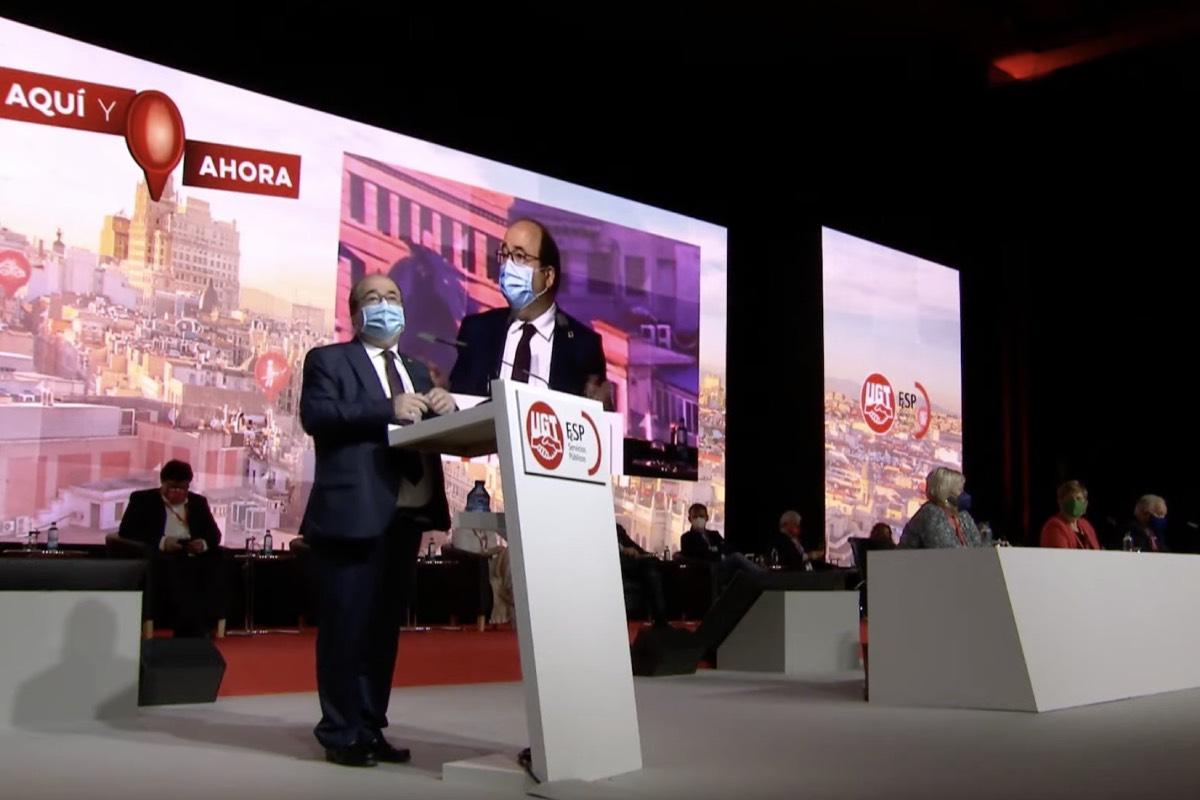 El ministro de Pol�tica Territorial, Miquel Iceta, durante su intervención en la clausura del Congreso de la FeSP-UGT (FOTO: Ministerio de Pol�tica Territorial).