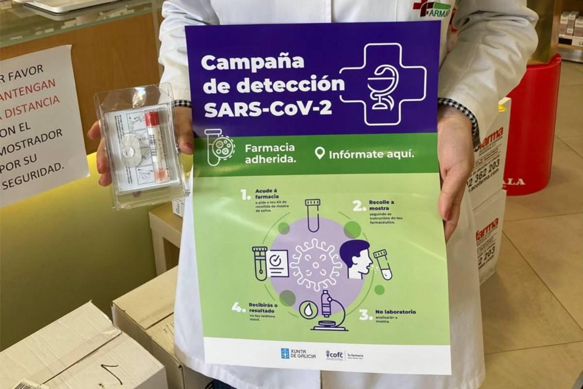 Campaña de detección de covid en farmacias de La Coruña.