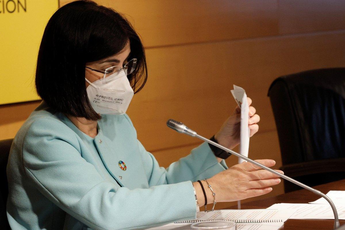La ministra de Sanidad, Carolina Darias, durante la presentación del Plan de Recuperación, Transformación y Resilencia