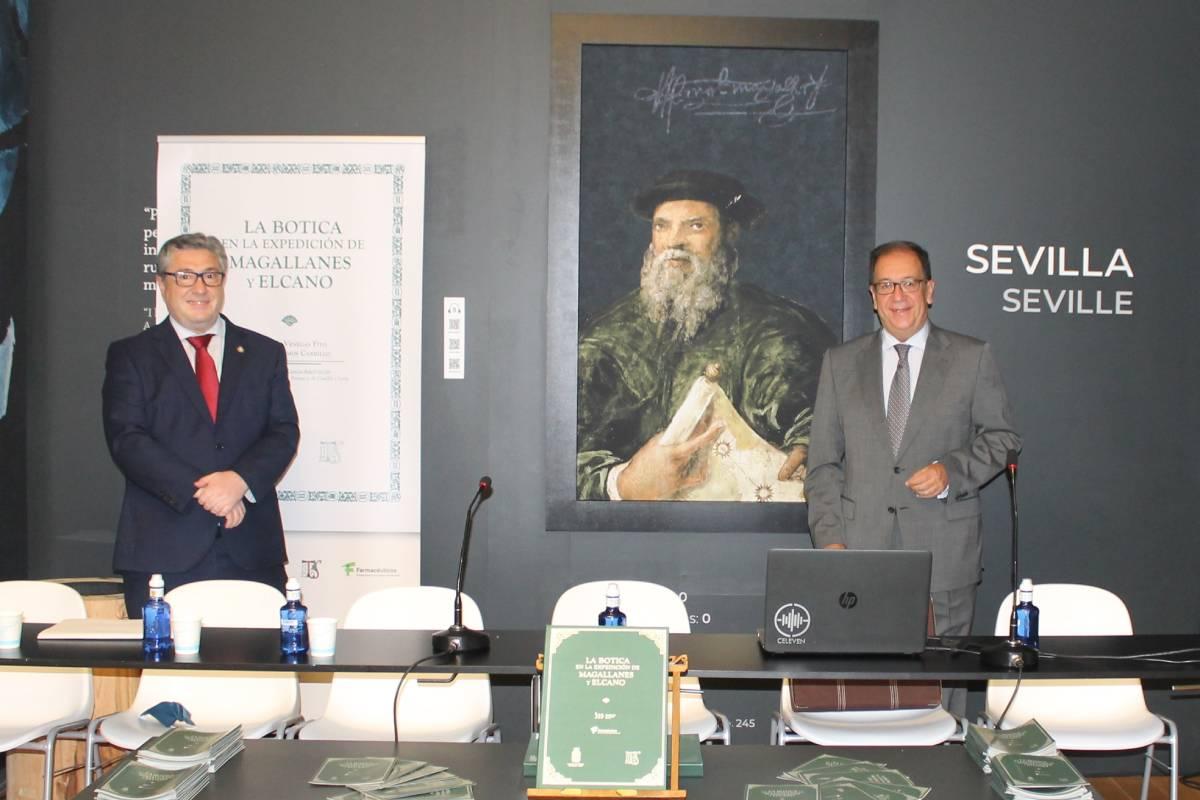 Antonio Ramos y Cecilio Venegas, autores de la obra 'La botica La Botica en la Expedición de Magallanes y Elcano'.