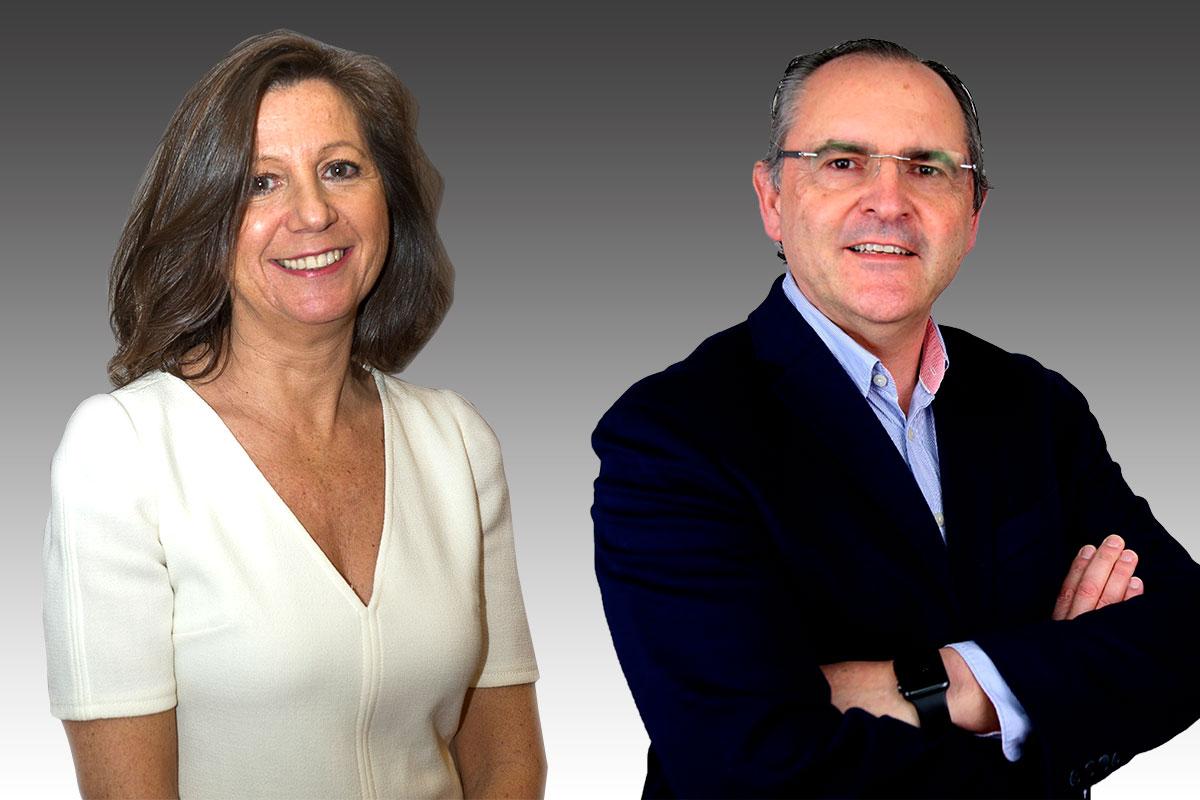 Alba Soutelo, presidenta en funciones del COF de Pontevedra, y José Vázquez, farmacéutico comunitario de Vigo, rivales en las elecciones del COF de Pontevedra.