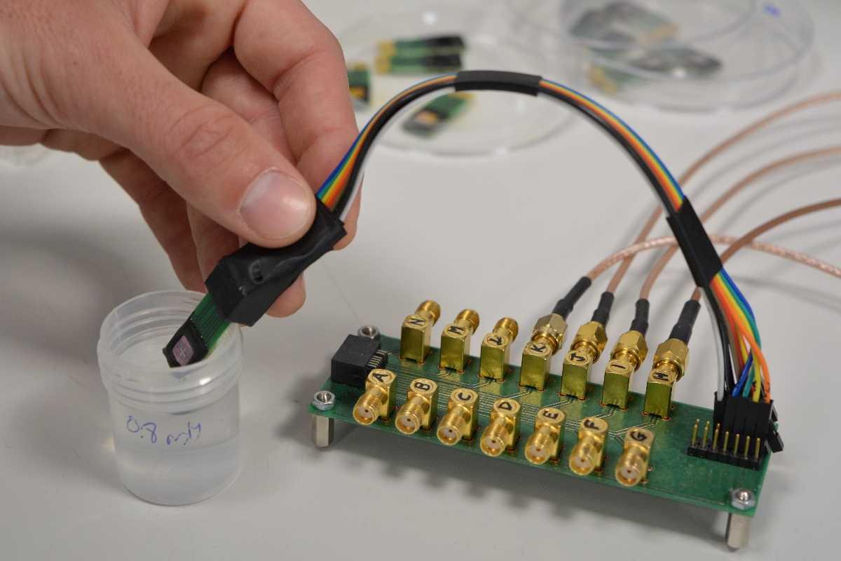 El dispositivo del CSIC se basa en un chip biosensor y nanopartículas magnéticas. Foto: CSIC