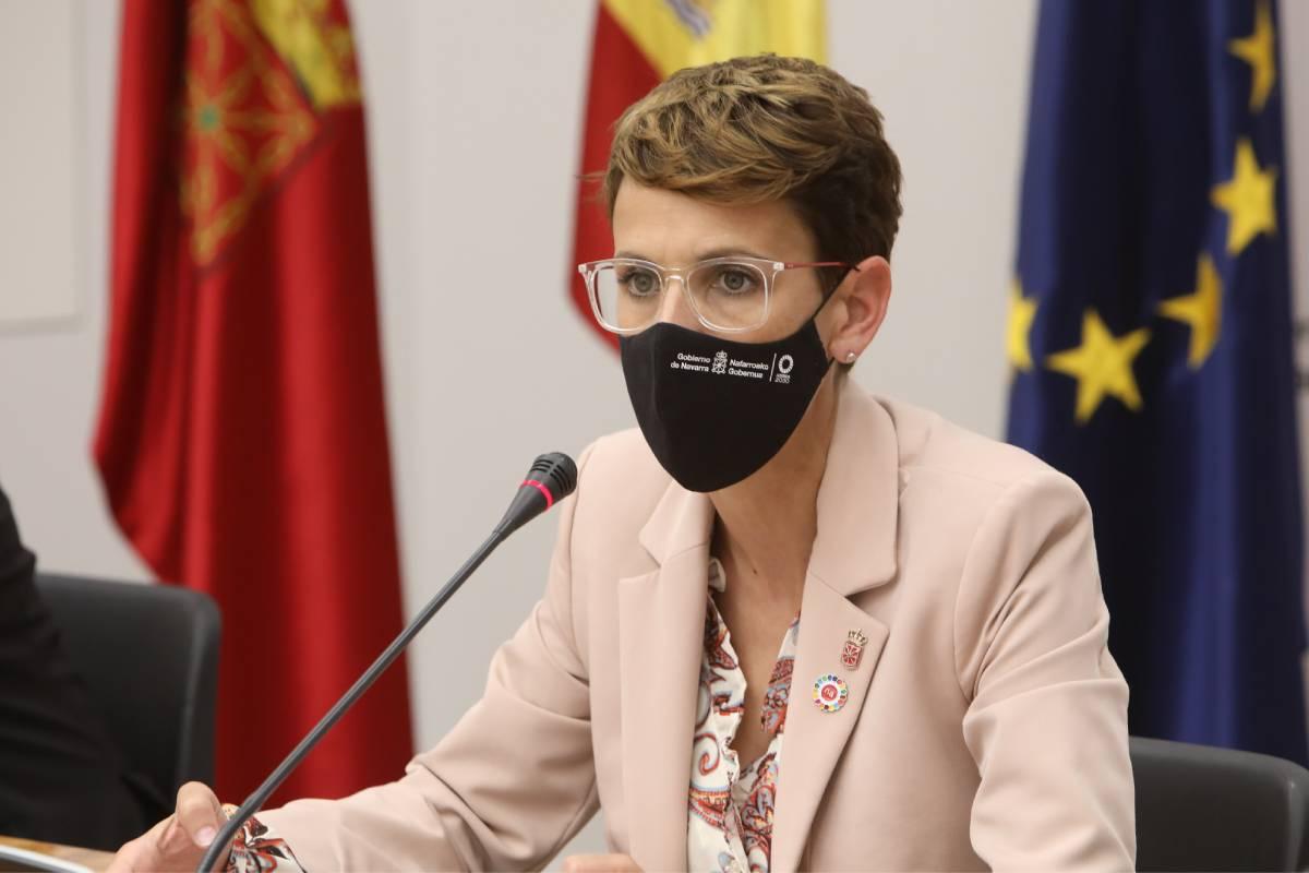 María Chivite, presidenta del Gobierno de Navarra, durante la reunión de la Junta de Transferencias el pasado 12 de mayo.