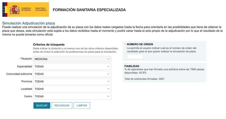 Página principal de la aplicación 'SIMULE', que hoy ha activado el Ministerio de Sanidad en su web para facilitar información sobre las plazas vacantes.