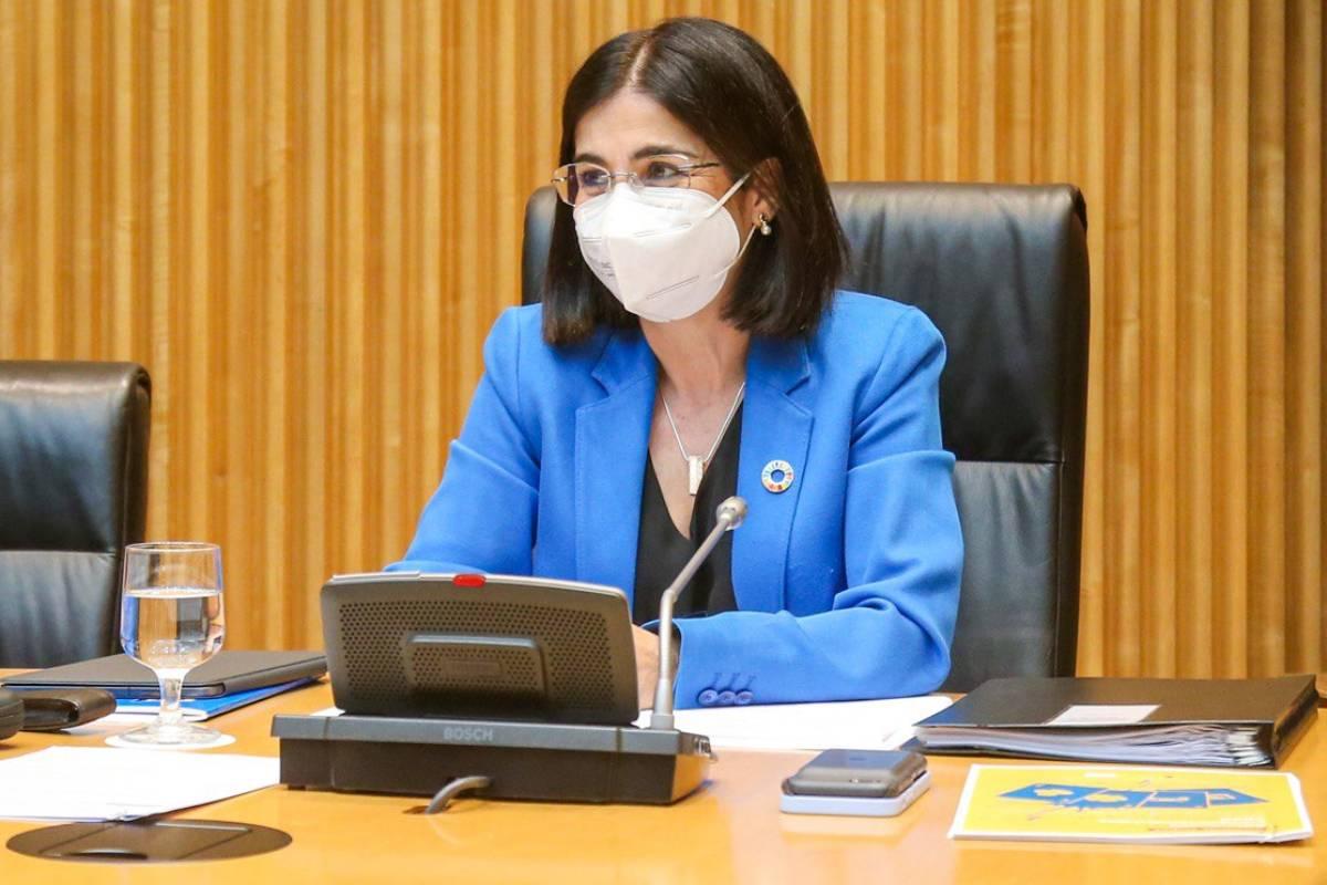 Carolina Darias, ministra de Sanidad, durante su comparecencia ante la Comisión Mixta para el Estudio de los Problemas de las Adicciones del Congreso de los Diputados.