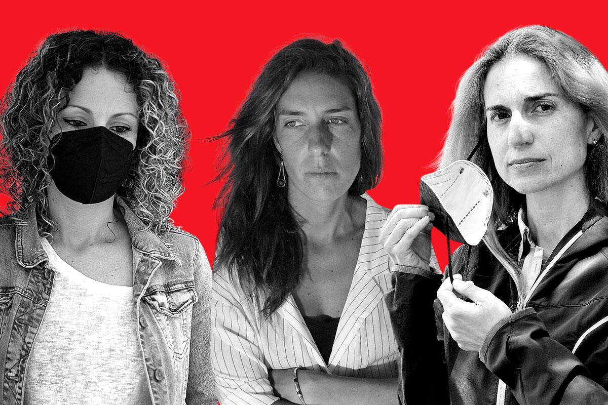 Sonia Serrano, Fátima Gottwald y Nerea Montes, tres sanitarias que se contagiaron de la covid en la primera ola y ahora tienen covid persistente (FOTOS: Kike Taberner, Cata Zambrano y Xavi Buil)