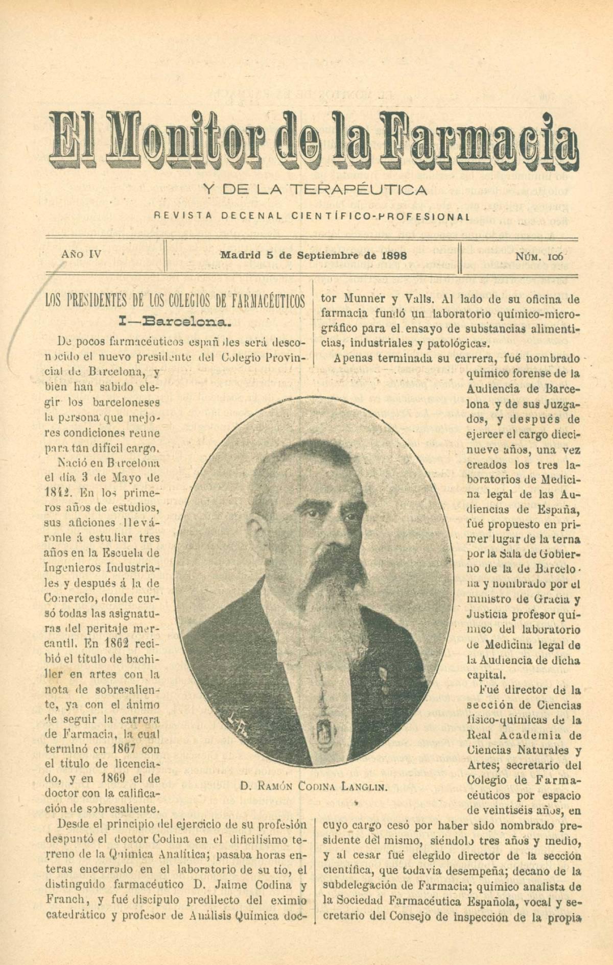 """'El Monitor de la Farmacia y la Terapéutica', una de las publicaciones especializadas de la época que se hizo eco de aquellas ocho sesiones de la Primera Asamblea de COF provinciales, en 1899. / """"Ocho d�as de Octubre"""" (RANF)Piremra"""