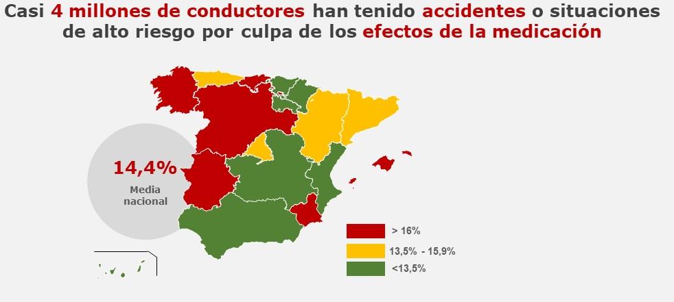 Accidentes por efectos de medicación según comunidades autónomas. /Fundación L�nea Directa.