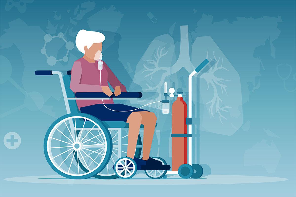 Ilustración de una anciana enferma