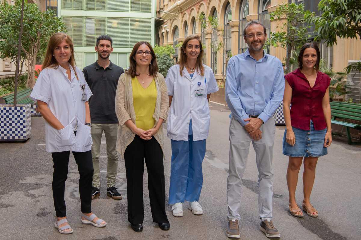 Marta Sitges, Kilian Vellvé, Fàtima Crispi, Isabel Blanco, Eduard Gratacós y Francesca Crovetto. Foto: Idibaps