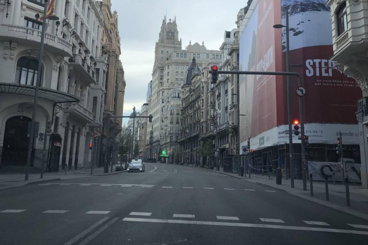 Las calles de Madrid vacías tras la declaración del primer Estado de Alarma.