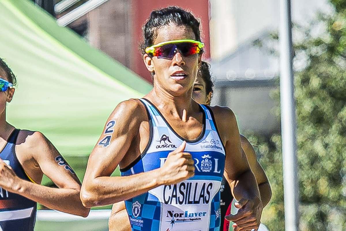 Miriam Casillas, durante el Campeonato de España de Triatlón Sprint 2020 celebrado en Pontevedra, donde logró el bronce (FOTO: FETRI)