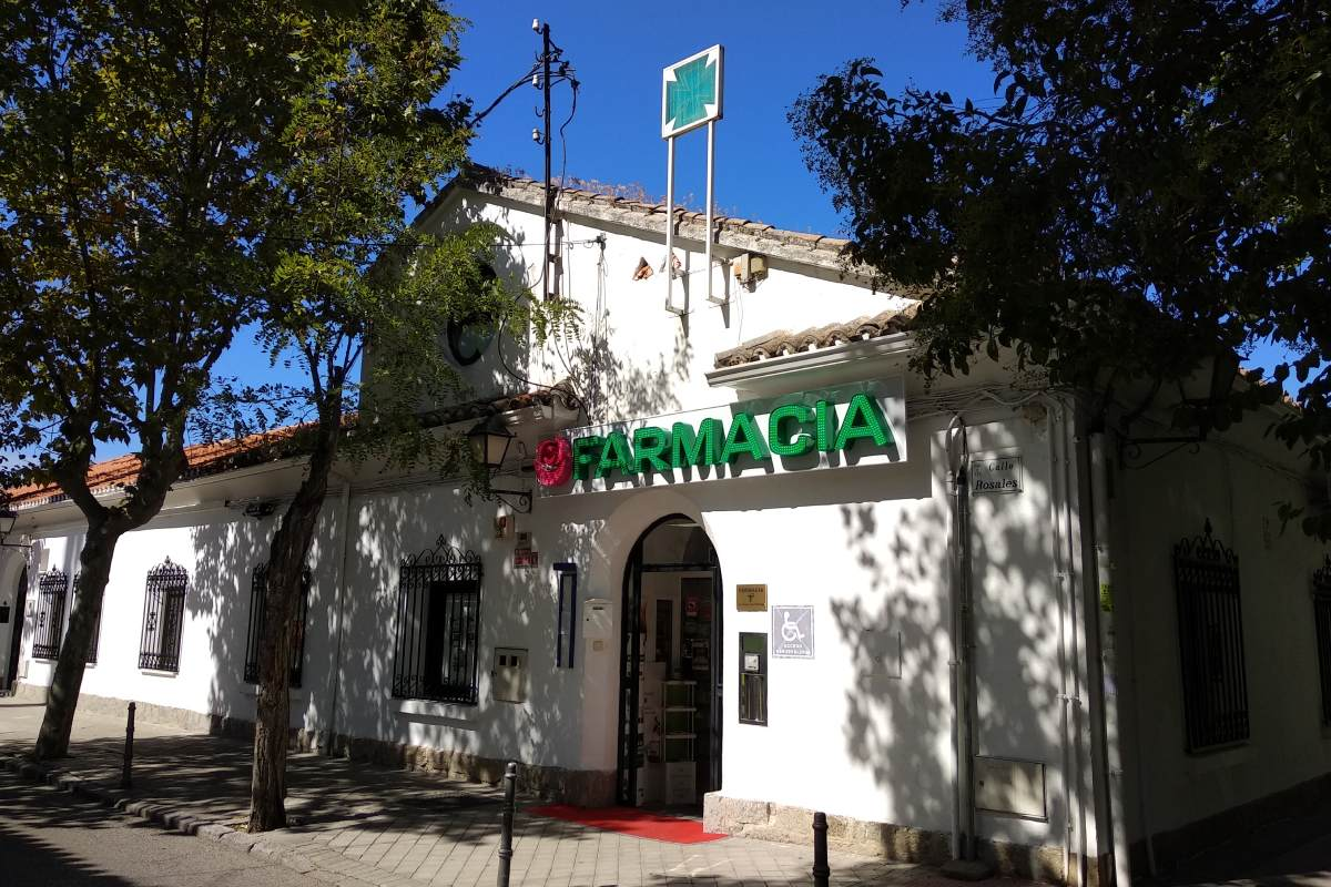 Farmacia situada en Villanueva de la Cañada (Madrid).