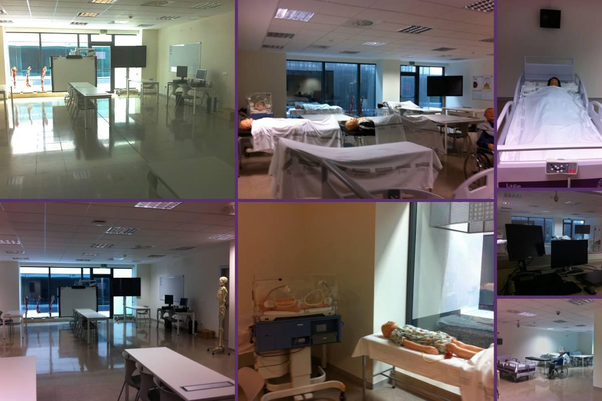 Imágenes de las distintas instalaciones donde el alumnado de la Escuela de Enfermer�a La Fe realiza ejercicios simulados.