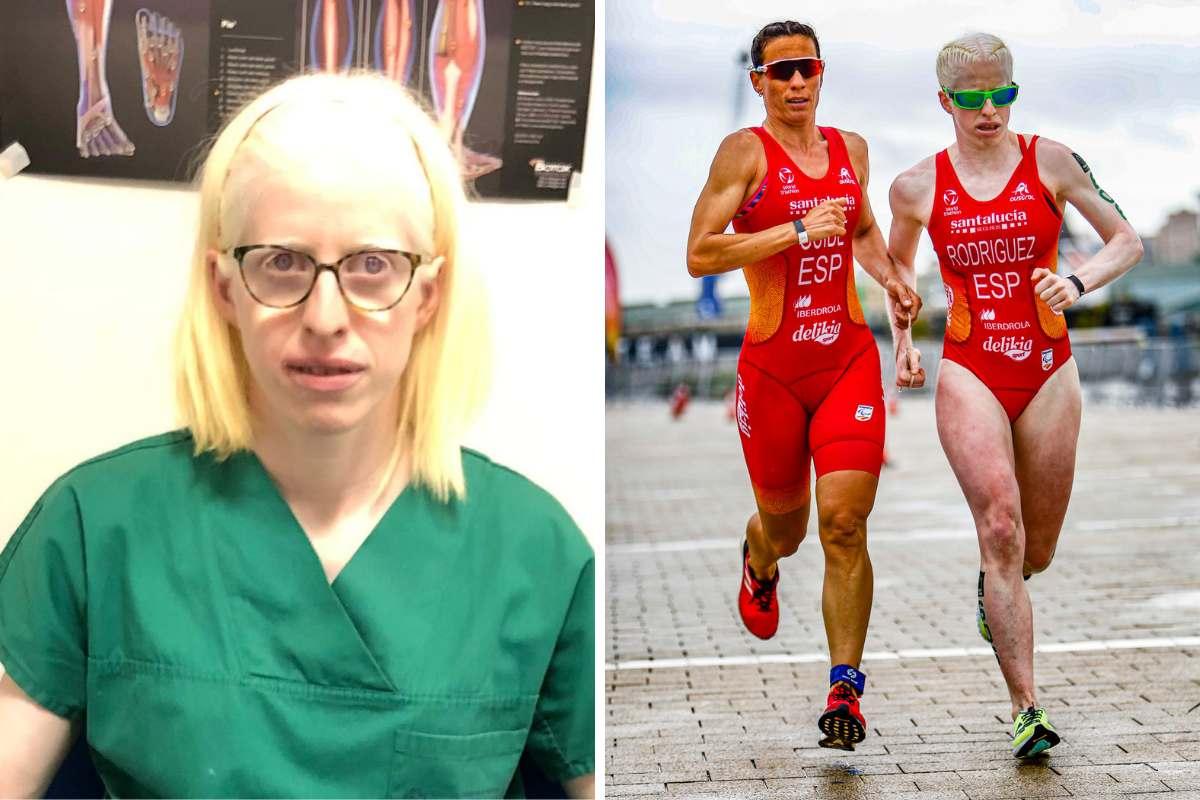 Susana Rodr�guez, triatleta paral�mpica española y médico. A la derecha, con su gu�a en la Copa del Mundo de Paratriatlón en A Coruña (FOTO: @Jcdfotografia)