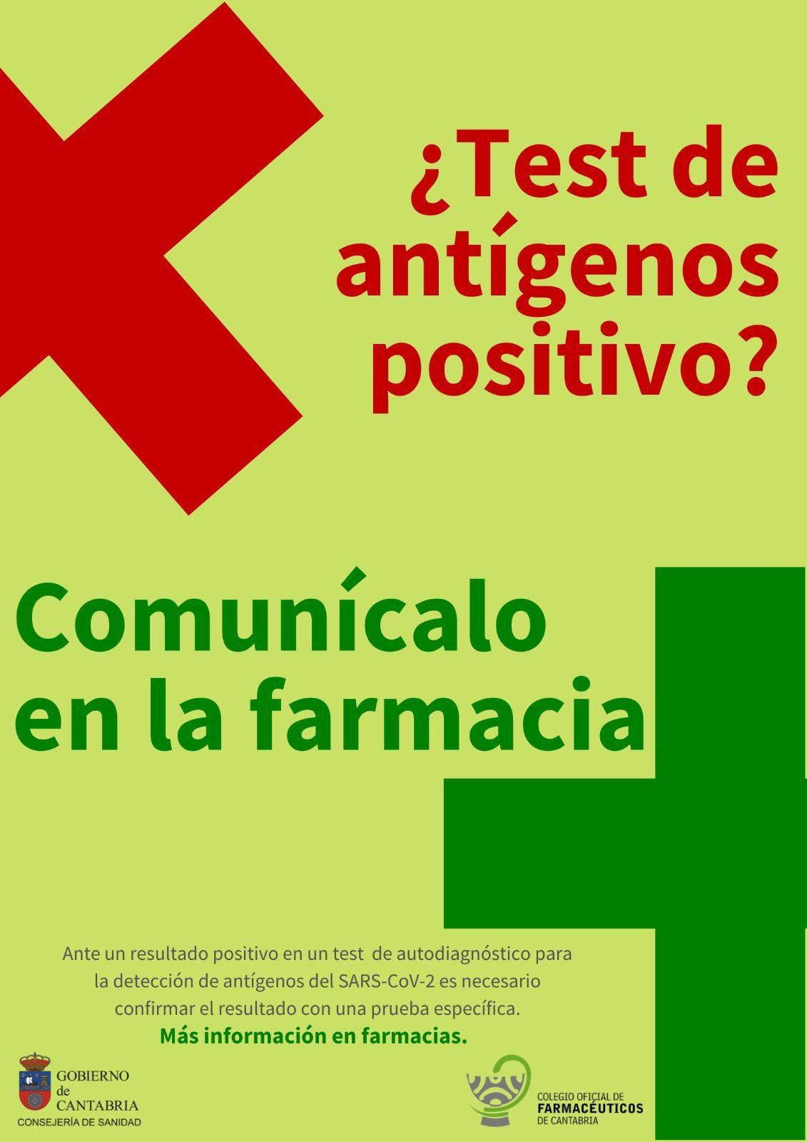 Cartel en farmacias de Cantabria.