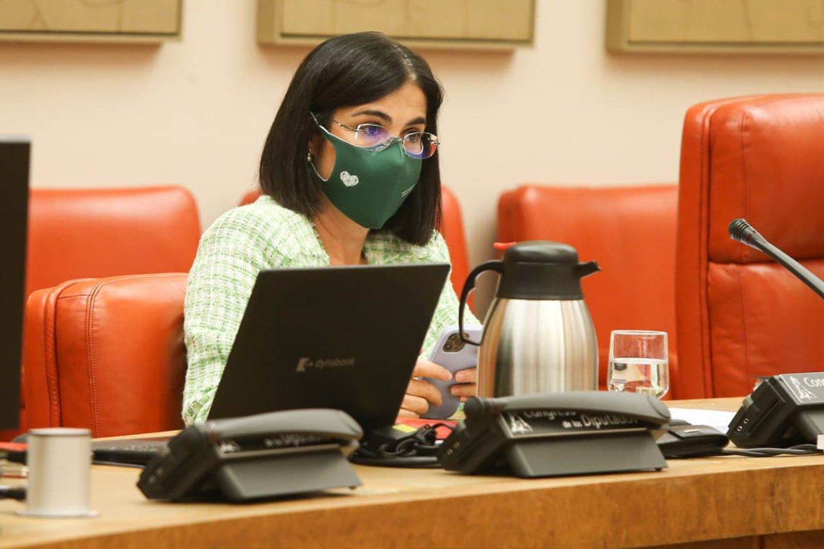 Carolina Darias, ministra de Sanidad, durante su comparecencia ante la Comisión de Sanidad y Consumo del Congreso de los Diputados.