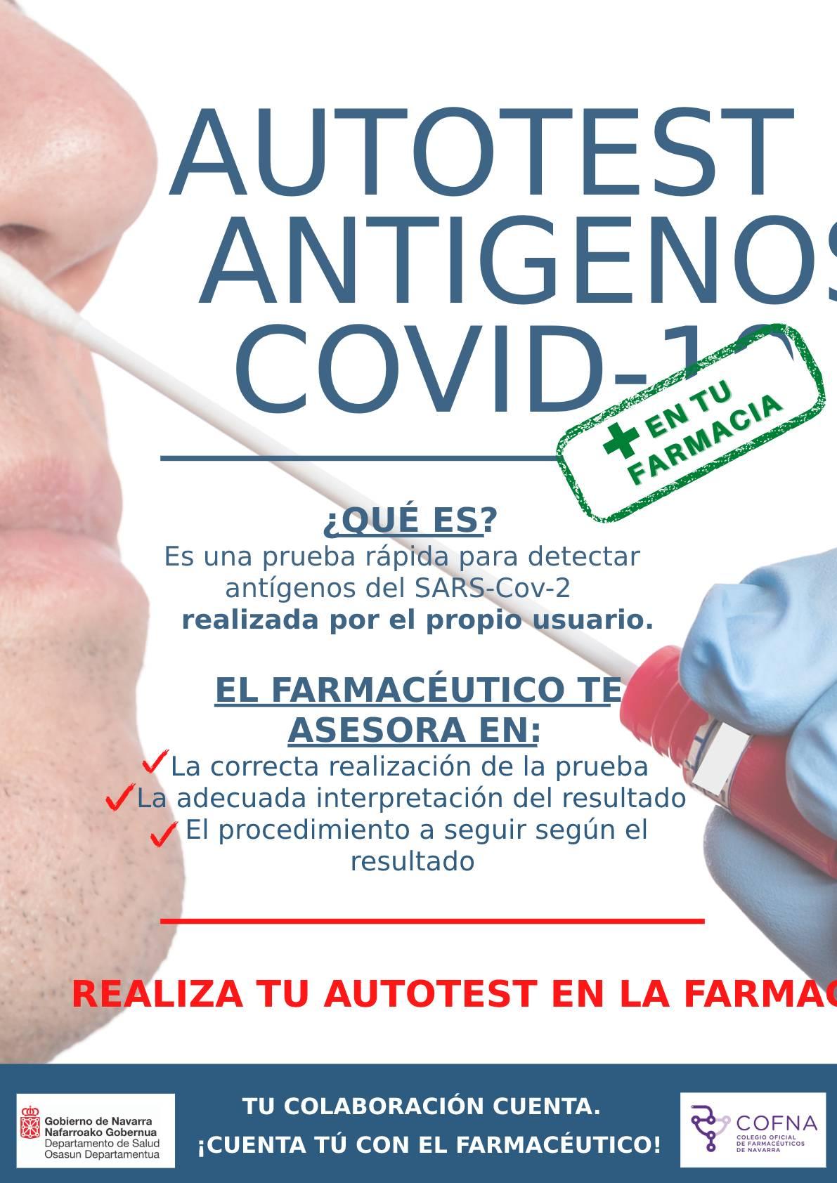 Cartel autotest de test de ant�genos covid-19, en las farmacias de Navarra.