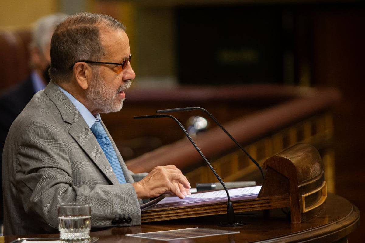 El Defensor del Pueblo, Francisco Fernández Marugán, durante su comparecencia este jueves en el Congreso de los Diputados para presentar su informe anual.
