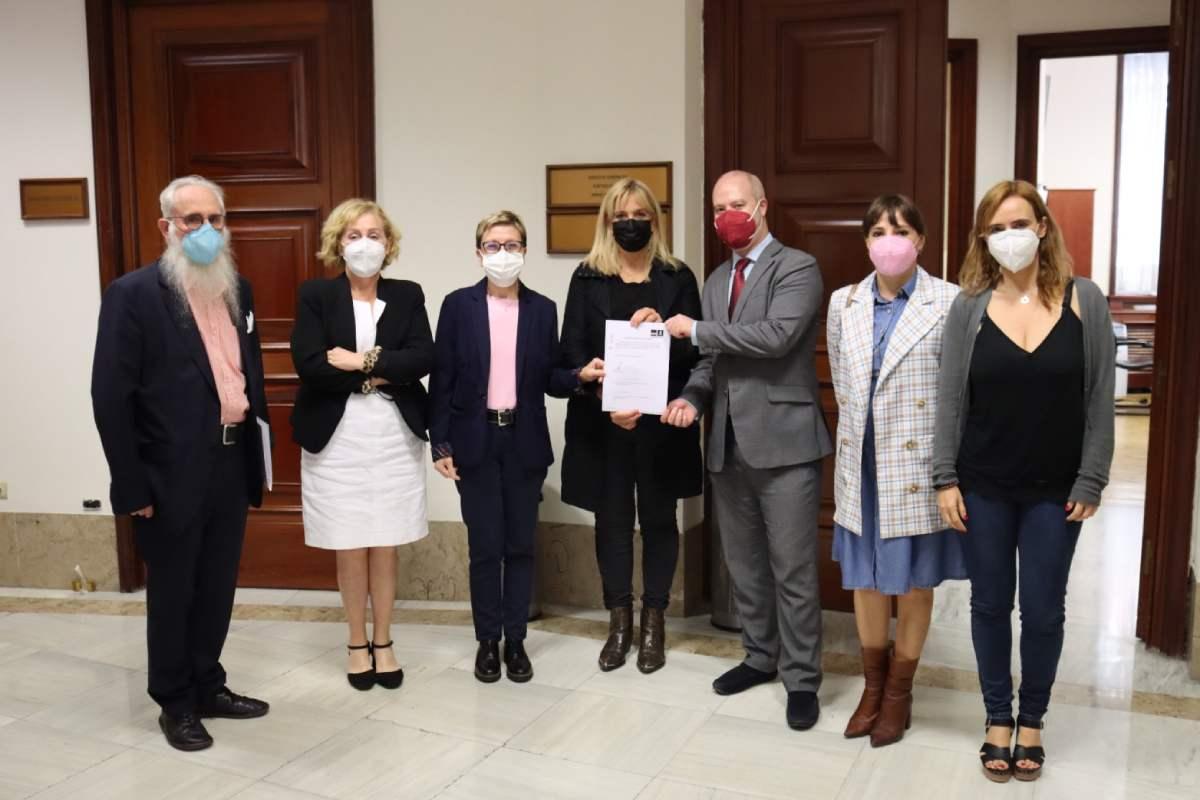 Ana Prieto, portavoz de Sanidad del Grupo Parlamentario Socialista, y su equipo, presentando la PNL en el Congreso para impulsar el Plan Estratégico de Salud y Medio Ambiente.