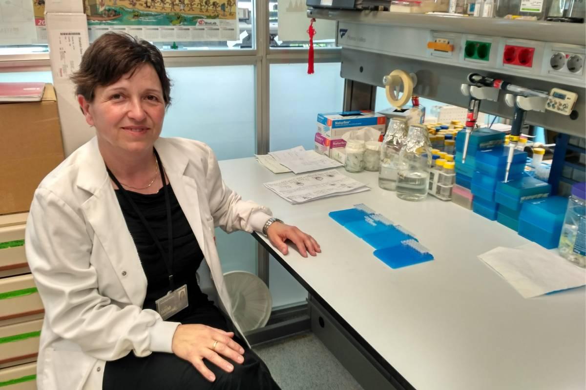 La investigadora Anna Bigas en el laboratorio.