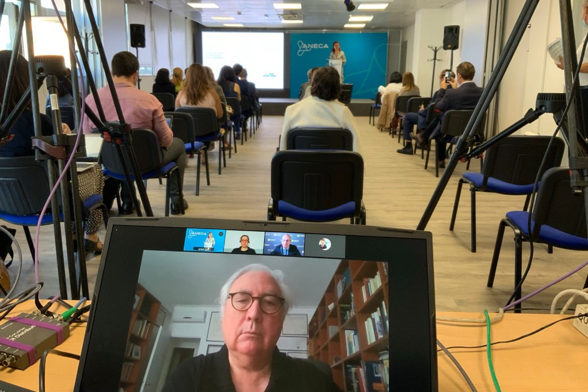 Mercedes Siles, directora de Aneca (al fondo), da paso al ministro de Universidades, Manuel Castells, durante su intervención virtual en las jornadas sobre empleabilidad (Foto: Aneca).