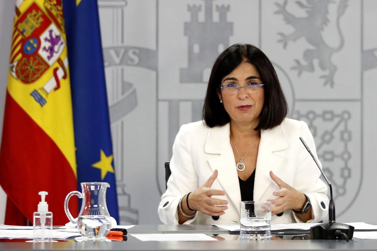 Carolina Darias, ministra de Sanidad, durante la rueda de prensa que ha tenido lugar este miércoles tras la reunión del Consejo Interterritorial. (EFE)