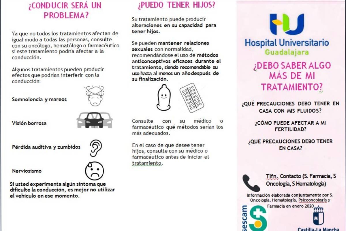 Una de las caras del tr�ptico elaborado en el Hospital de Guadalajara por oncólogos, farmacéuticos y un piscooncólgo.