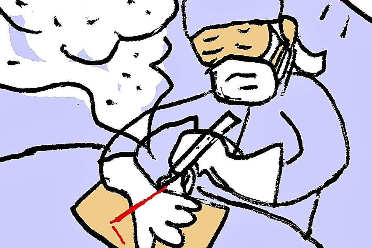 La correcta renovación aérea no es suficiente para tratar el humo derivado de las operaciones tanto por laparoscopia como por laparotomía. (ILUSTRACIÓN: Miguel Santamarina)