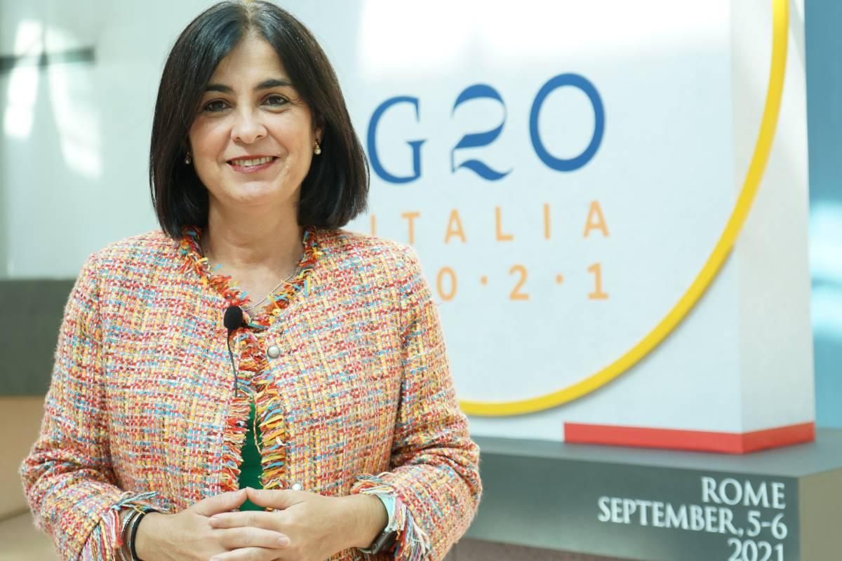La ministra de Sanidad, Carolina Darias, en la tercera sesión del G20 Sanidad que se celebra durante en Roma.