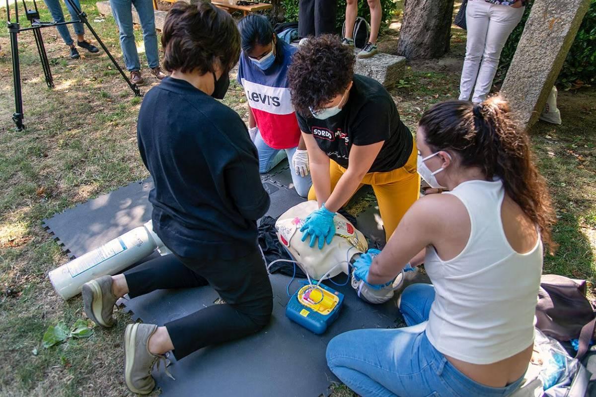 Alumnos del curso de verano de la UCM en El Escorial 'El papel de la farmacia comunitaria en las emergencias sanitarias extrahospitalarias', el pasado mes de julio.