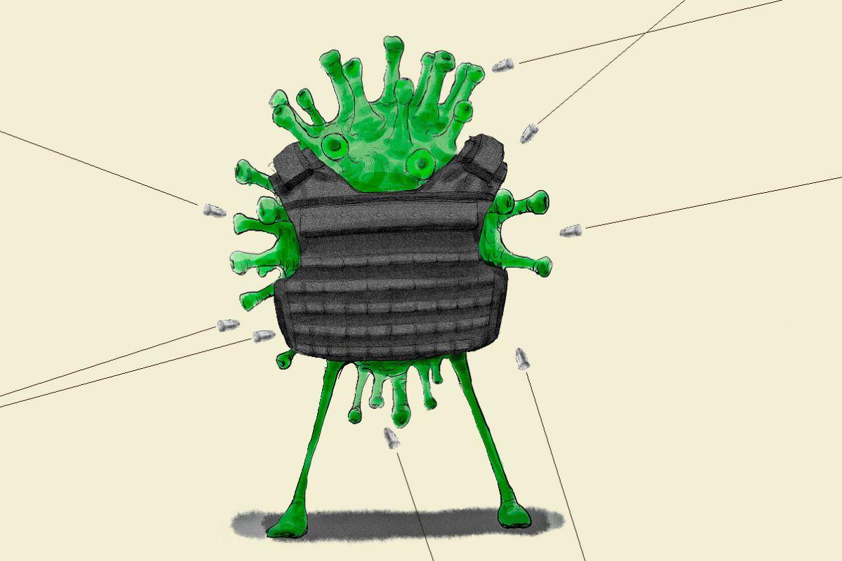 Los nuevos ensayos intentan traspasar los escudos a los que se aferra el coronavirus. ILUSTRACIÓN: Gabriel Sanz.