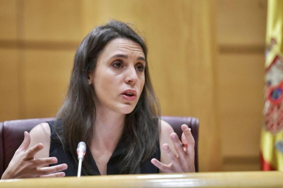 Irene Montero, ministra de Igualdad durante una comparecencia en el Senado.