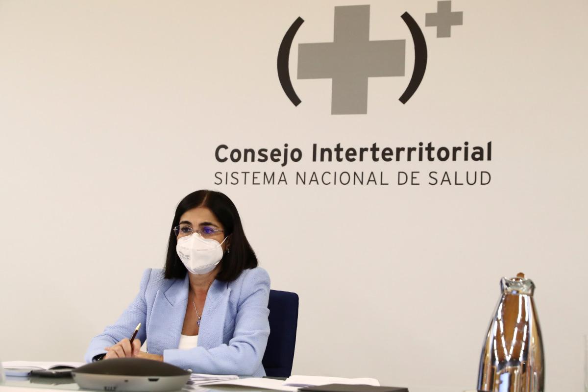 La ministra de Sanidad, Carolina Darias, participa en una reunión del Consejo Interterritorial del Sistema Nacional de Salud este miércoles en Madrid. (FOTO: EFE/Pool Moncloa /Fernando Calvo).