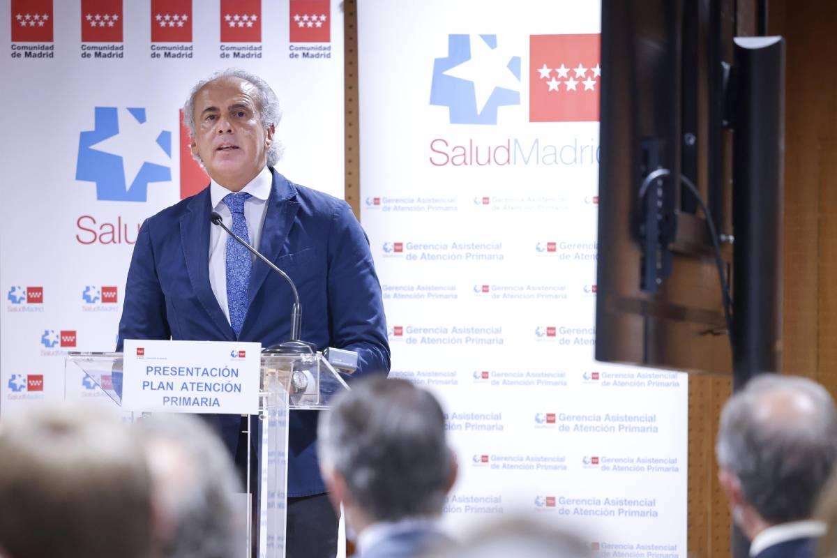 Enrique Ruiz Escudero, consejero de Sanidad de Madrid, durante la presentación del Plan Integral de Atención Primaria (Foto: Comunidad de Madrid)
