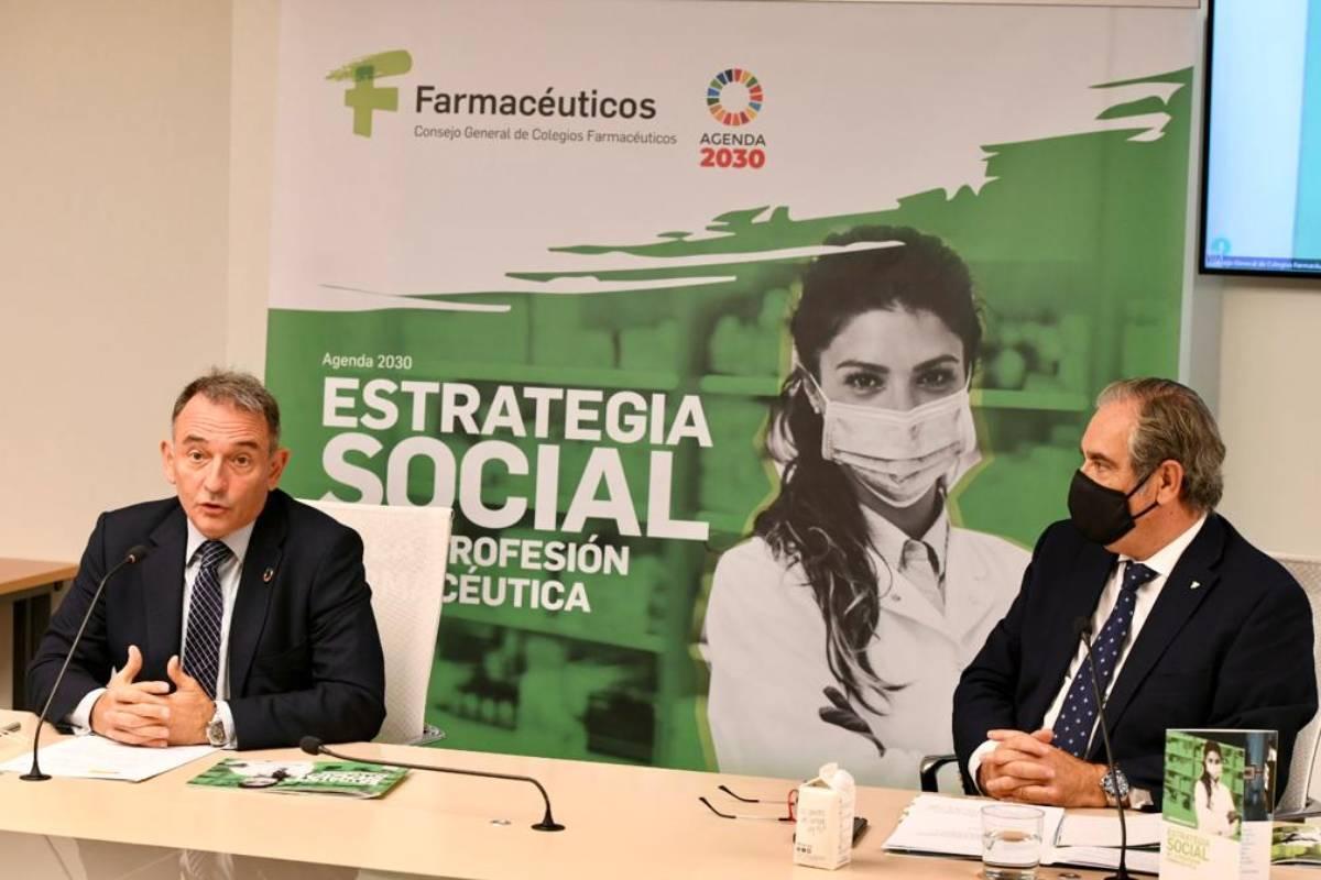 Enrique Santiago Romero, Secretario de Estado para la Agenda 2030 del Ministerio de Derechos Sociales y Agenda 2030, y Jesús Aguilar, presidente del Consejo General del COF.
