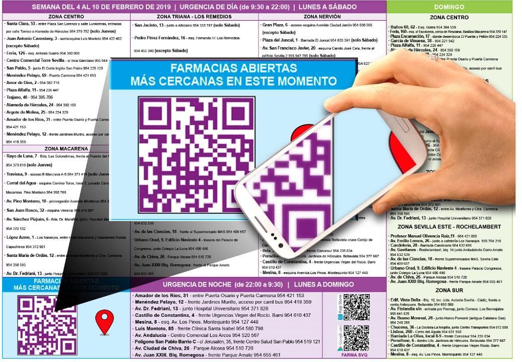 Códigos QR en farmacias de Sevilla